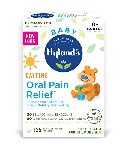 Hyland's Baby Oral Pain Relief Tablets with Chamomilla, Soothing Natural Relief of Oral Discomfort, Irritability, and Swelling, 125 Count - Packaging May Vary