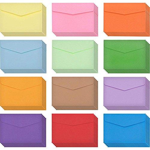 JAHEMU 封筒ミニ カラー封筒 無地封筒 長形 メッセージ カード 12色 結婚式 誕生日 案内状 挨拶状封筒 パーティー用品 120枚