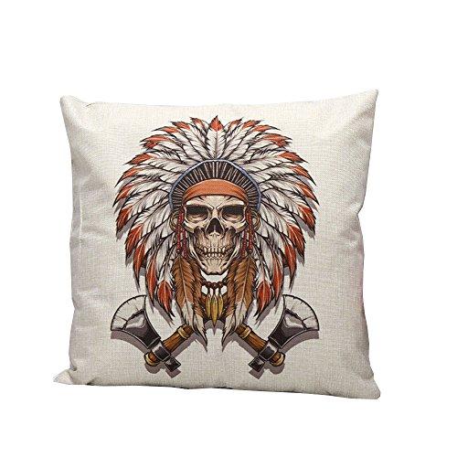 iHome Kussensloop Decoratieve Case, Katoen linnen, ruimte 45 x 45 cm, Native American Indianen doodskop schedel bijl