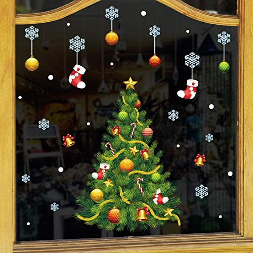 JYKFJ Christmas Glass Stickers Shop Wall Door Window Room Decoration Santa Claus Home Decor