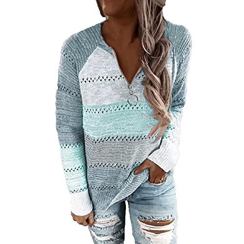 Berimaterry jerséis de Punto mujer Cuello redondo con estampado de Acolchado Suéter cómodos Suéter de...