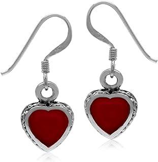 Silvershake Heart Shape 925 Sterling Silver Inlay Dangle Hook Earrings