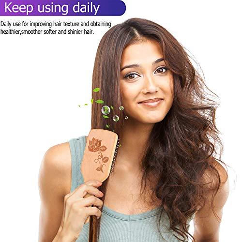 Bsisme Hair Brush-Boar Bristle Hairbrush with Detangling Pins Wooden Paddle Detangler Hairbrush for Women Men Reduce Frizz Dry Restore Natural Shine