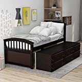 Twin Bed Frame with Storage Drawers, Solid Wood Captains Bed Frame,No Box Spring Needed (Espresso Twin Bed with Drawers)