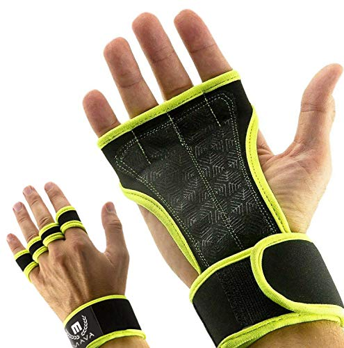 Mava Sports Workout Gloves with Wrist Wraps Support and Full Palm Silicone Padding - Perfect for Weight Lifting,Cross Training, Pull Ups, WOD and Powerlifting for Men and Women (Lime, X-Small)