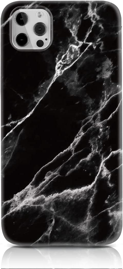 Cover Compatible with iPhone 11 Pro Max Case Marble Black Thin Soft Silicone TPU Bumper for iPhone 11 Pro Max Matte Marble Black