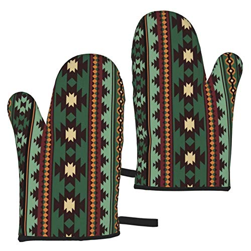gfhfdjhf Southwest Tribal Green Brown Bandana Oven Gloves,He
