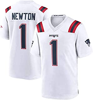 HJX888 Rugby-Trikot NFL England Patriots 1# Newton Football-Trikot,Unisex Sports Kurzarm-Sweatshirt Fitness Atmungsaktive Stickerei T-Shirt