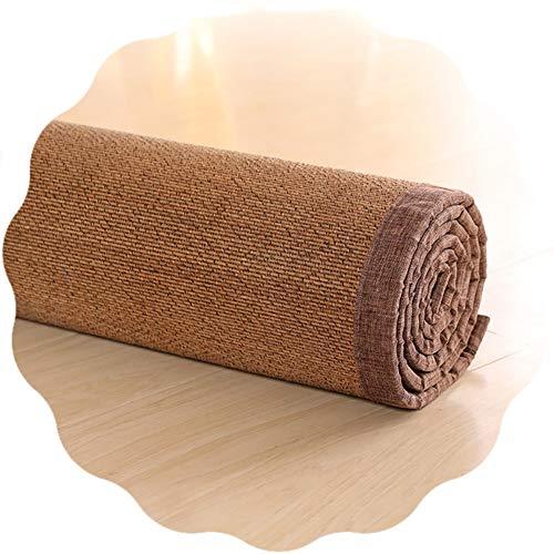 JIAJUAN 13 MM Grueso Bambú Alfombra con Algodón Cáñamo Dobladillo para Verano Piso Esteras Antideslizante Cómodo Zona Alfombras 4 Estilos, Tamaño Personalizado (Color : D, Size : 140X200CM)
