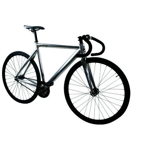Zycle Fix ZFPRAL-CHBK-59 Prime Alloy Fixed Gear Bike (Frame Size : 59 cm), Chrome/Black