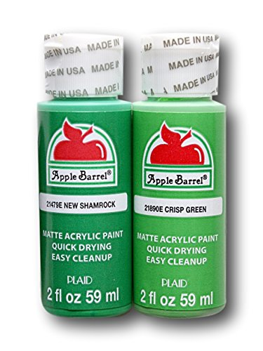 Apple Barrel Acrylic Paint Classic Green Hues Set - New Shamrock and Crisp Green (2 Ounces Each)