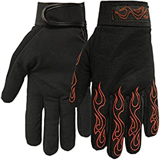 Hot Leathers Mechanic Gloves with Red Flames (Black, Medium)