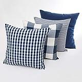 Fasyou Set di 4 federe Decorative per cuscino a Quadri in Cotone a Righe in Tinta Unita, per divano e Camera da letto, 45 x 45 cm, BLU Scuro