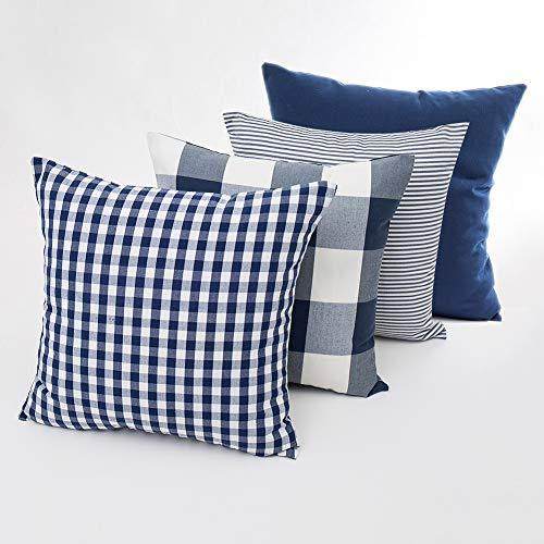 Juego de 4 fundas de almohada decorativas de algodón a cuadros, cuadradas, fundas de almohada a rayas, funda de cojín suave para sofá, dormitorio, sofá, 45 x 45 cm, azul oscuro