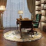 Área redonda alfombras retro para la sala de estar Sala de estudio Sala de dormitorio 80 cm 100 cm 120 cm 200 cm Autoramiento de la decoración casera lavable antideslizante ( Size : Diámetro 80cm )