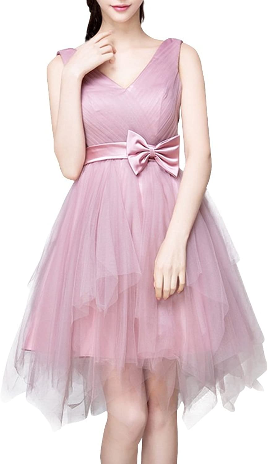 Dasior Women's V Neck Backless Asymmetrical Tulle Bow Bridesmaid Party Dress