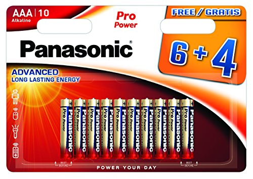 Panasonic Blister 10 Batterie Mini Stilo AAA Alcaline LR03 Pro Power