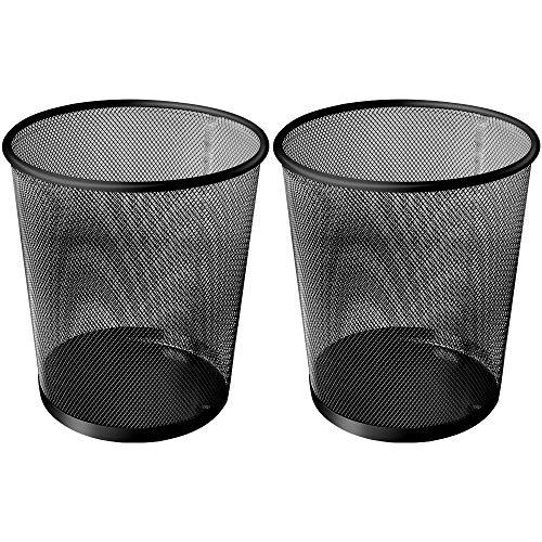 Papierkorb aus Netzstoff, Papierkorb, Metallgeflecht, für kleine Büros, Schlafsäle, Küchen, Zuhause, 2er-Set (schwarz)