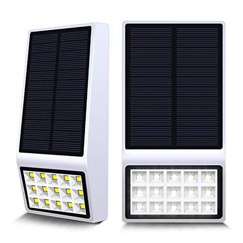 Aogist Solar Lights Outdoor,15 LED Solar Motion Sensor Lights Solar Security Lights Wireless IP 65 Waterproof Outdoor Lights for Garden,Fence Patio,Front Door,Yard, Garage,Deck(2pack) (White)