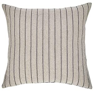 "Made in the United States and imported This traditional throw pillow features a classic ticking stripe pattern on an elegant pewter field. The solid charcoal back accentuates the dark lines of the ticking stripe and ties your décor together. 17""L x 1..."