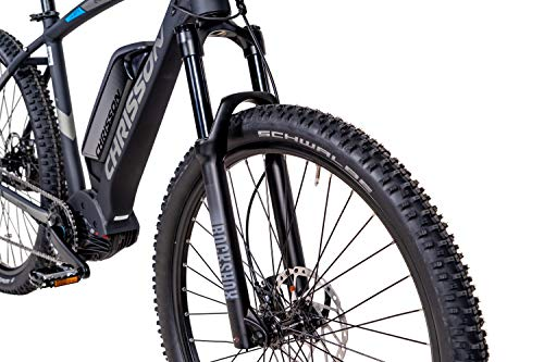 51LIa92aDRL - CHRISSON 27,5 Zoll E-Bike Mountainbike - E-Mounter 3.0 schwarz - Elektrofahrrad, Pedelec für Damen und Herren - Motor Performance Line CX 250W, 85Nm - E-Mountainbike mit Power Pack 500 Wh Akku
