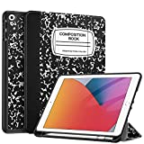 Fintie SlimShell Case for iPad 9th / 8th / 7th Generation (2021/2020/2019 Model) 10.2 Inch - [Built-in Pencil Holder] Soft TPU Protective Stand Back Cover with Auto Wake/Sleep, Composition Book Black