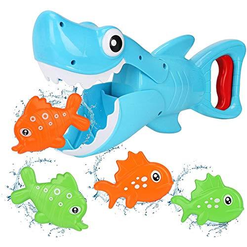 GQFGYYL-QD Juguetes de Baño para Bebés, Juguetes de Bañera Shark Grabber, Rompecabezas de Baño, Juguete de Agua con 4 Peces de Juguete para Niños Pequeños de 1-2-3-4 Años, Azul