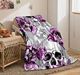 Bedbay Sugar Skull Blanket Gothic Skull Decor Sherpa Fleece Blanket Purple Tulip Flowers Blanket Soft Warm Plush Blanket for Girls Boys Adults (Purple, Twin(60'x80'))