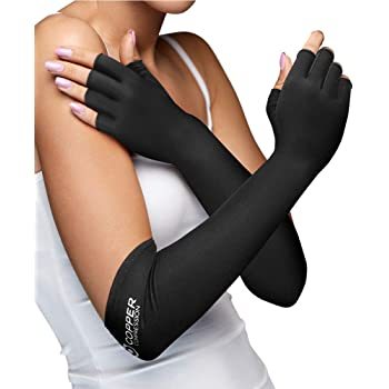 Copper Compression Long Arthritis Gloves - Guaranteed Highest Copper Content. Best Copper Infused Extra Long Fit Glove for Women + Men Carpal Tunnel Computer Typing Support Hands Wrist 1 Pair (Small)