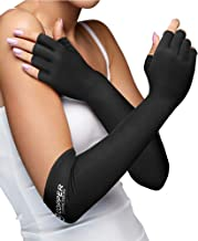 Copper Compression Long Arthritis Gloves - Guaranteed Highest Copper Content. Best Copper Infused Extra Long Fit Glove for Women + Men Carpal Tunnel Computer Typing Support Hands Wrist 1 Pair (Medium)