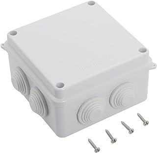 LeMotech ABS Plastic Dustproof Waterproof IP65 Junction Box Universal Electrical Project Enclosure White 3.9 x 3.9 x 2.8 inch (100 x 100 x 70 mm)