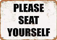 座ってください、ブリキの看板、ヴィンテージ鉄の絵の金属板ノベルティ装飾クラブカフェバー