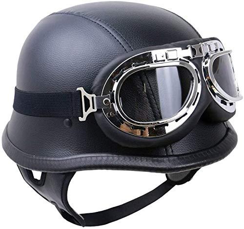 EBAYIN Cascos Half-Helmet Cascos Abiertos Brain - Cap Medio Casco Retro Harley Motocicleta Casco ECE Cruiser Chopper Piloto Jet Casco Scooter Ciclomotor Unisex Adulto Práctico,B-XL=(61~62cm)