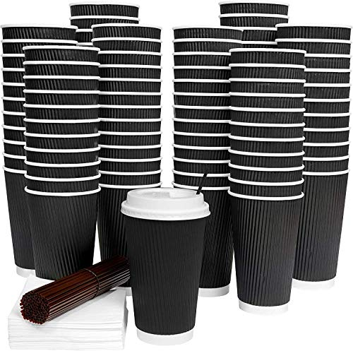 12oz Black Ripple Insulated Takeaway Paper Coffee Cups to Go with White Lids [12oz, 340ml, 100 Sets] + Wooden Stirrers for Serving Tea, Coffee: 100 Disposable Cups + Free Lids, NO LEAKS or Sleeves