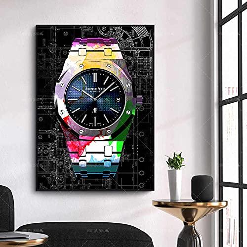 HUANGXLL Decoración Moderna para el hogar Carteles Abstractos Reloj Arte Lienzo Cuadros modulares Impresiones Decorativas Pintura de Pared para Sala de estar-50x70cm-sin Marco