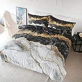 BlessLiving Bedding Duvet Cover Set Black White Gold...