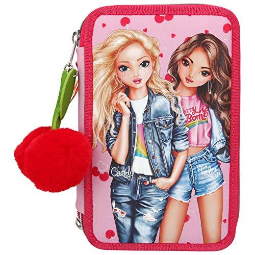 Depesche 10991 Federtasche mit 3 Reißverschlüssen und Stiften von Lyra, TOPModel Cherry Bomb, pink, ca. 7,5 x 13 x 20 cm