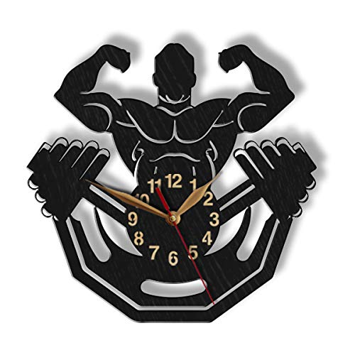 monastar Bodybuilder Wood Wall Clock -Select Size, Personalization- Home Gym Room Big Large Bodybuilding Strongman Weightlifter Powerlifter Coach Gift Strong Wall Art Décor