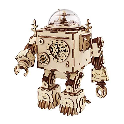 Robotime Roboter Spieluhr Holz 3D Puzzle Modell bausatz Erwachsene DIY Kinder Set Bauen bastelset Geburtstag Geschenk Junge Mädchen