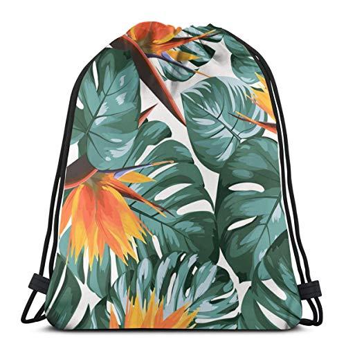 Tropical Greenery Philodendron Monstera Dschungel Frauen Mädchen Art Kordelzug Rucksack Balkmund Gym Sack Schultertaschen für Damen und Herren