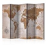 decomonkey Paravent Raumteiler XXL Einseitig Weltkarte 225x172 cm 5 TLG.