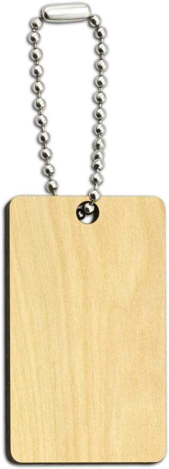 Happy Camper with Campfire Wood Wooden Rectangle Keychain Key Ring