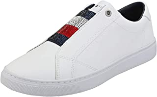 Tommy Hilfiger Crystal Leather Slip On Women Sneakers, White (White)