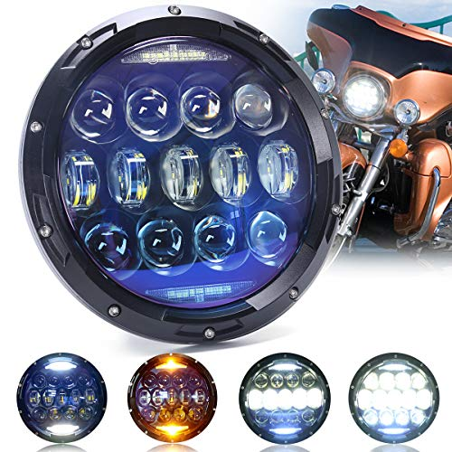 AUDEXEN 130W 7 Inch Round LED Headlights Blue Lens with Halo Ring of DRL Turn Signal and High Low Beam Compatible with Harley Ultra Classic Electra Road King Heritage Softail Fatboy (1 PCS) -  130W200305