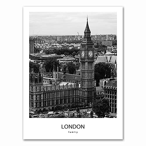 Moderno negro blanco ciudad de Londres edificio emblemático Big Ben reloj paisaje lienzo pintura arte de pared póster sala de estar oficina decoración del hogar Mural