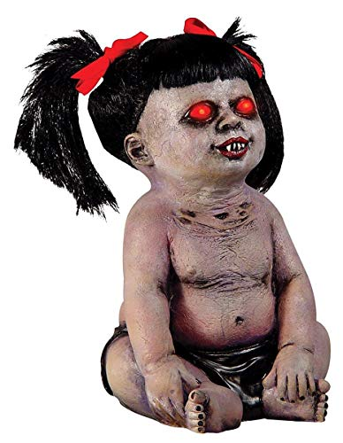 Motion Activated Halloween Prop Living Dead Zombie Baby with Glowing Eyes