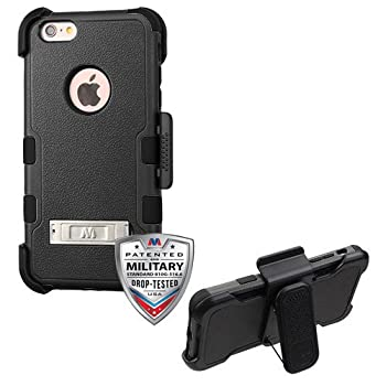Apple iPhone 6/6S Plus Natural Black TUFF Hybrid Case Cover Combo  with Stand  with Black Horizontal Holster   Military-Grade Certified