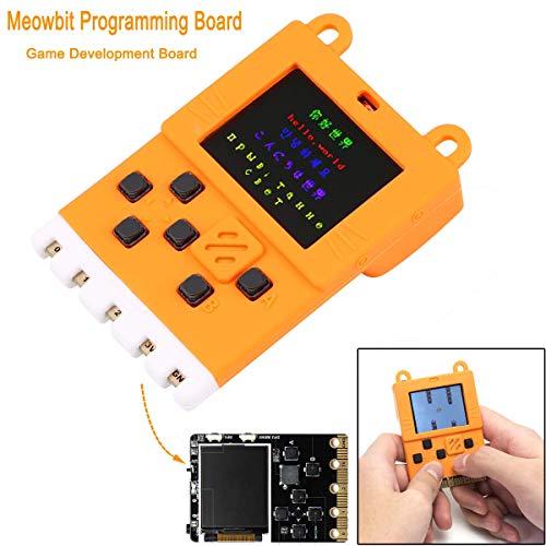 Meowbit Programmierbrett Spielentwicklungsboard mit 160 * 128 Bildschirmen kodierbare Konsole für Microsoft Makecode Arcade, macOS, Windows 7 und höher erhältlich, mit orangefarbener Silikonhülle
