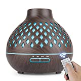Aroma Diffuser Auto Shut Off, 400ml Essential Oil Diffuser with Diamond-Shaped Design, 3 Timer Setting, Diffuser for Essential Oils with Great Mist - Whisper Quiet(Brown)
