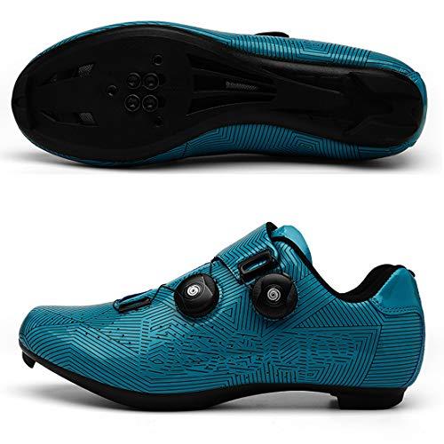 Scarpe da Bici da Uomo E da Donna Scarpe con Chiusura A Doppia Manopola Scarpe da Ciclismo con Fondo Rigido Professionale da Montagna/Bici da Strada (36,Blu/Autostrada)